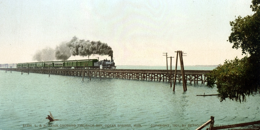 #51394 L. & N. Train Crossing the Back, Ocean Springs, Mississippi 1901